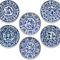 A set of six blue and white 'kraak' dishes, ming dynasty, wanli period (1573-1619)
