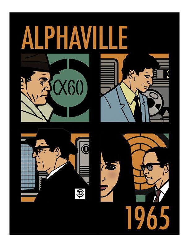 """""""Alphaville"""" une étrange aventure de Lemmy Caution Jean-Luc GODARD 1965 Planche originale quadrichromie"""