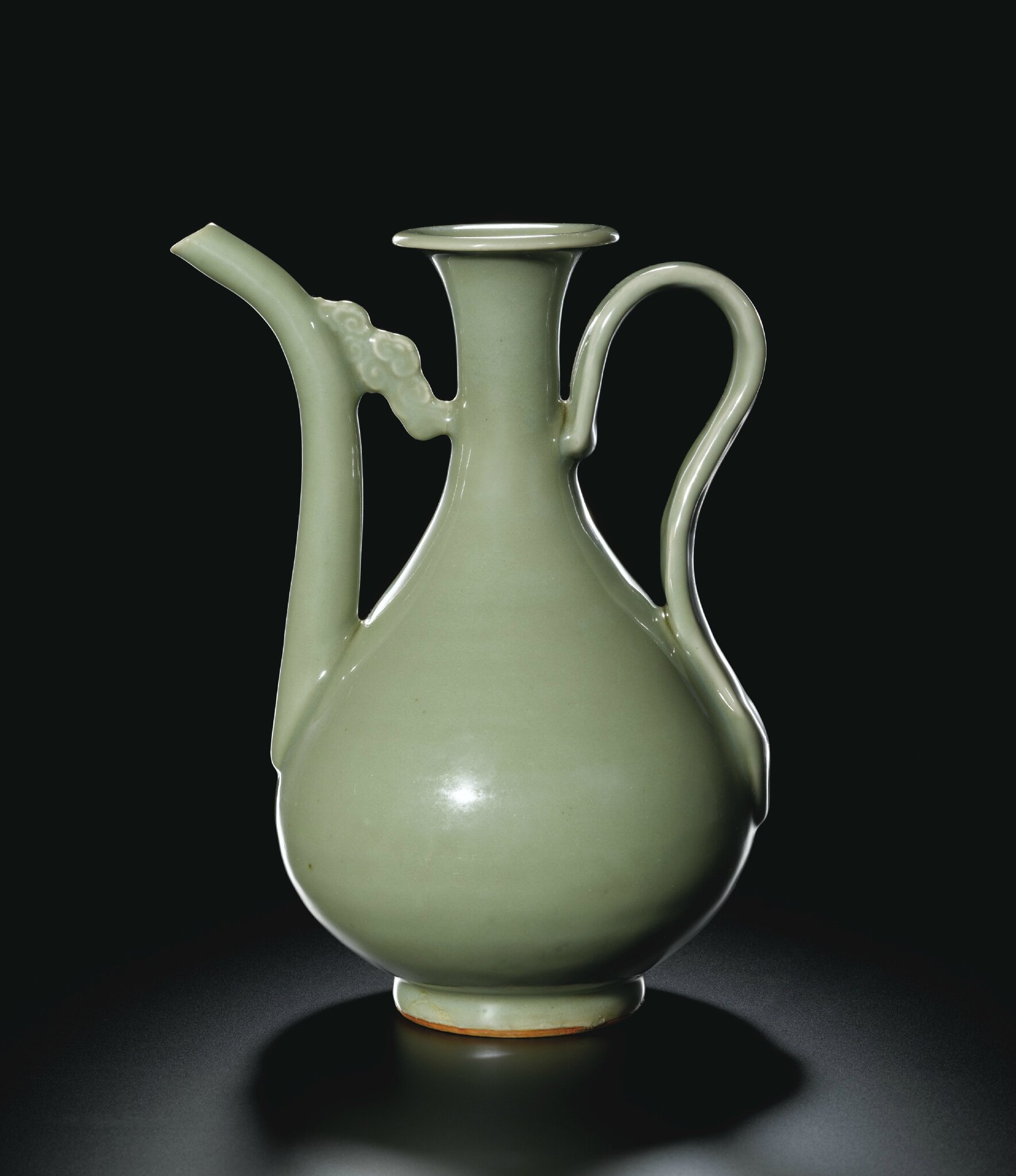An exceptional Longquan celadon ewer, Ming dynasty, early 15th century