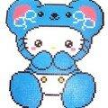 perle hama kitty déguisé en ours