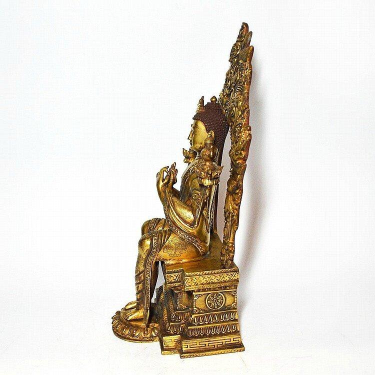 A Gilt Bronze Figure of Buddha Maitreya, Tibet, Qing dynasty4