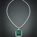 Colombian emerald & diamond necklace.