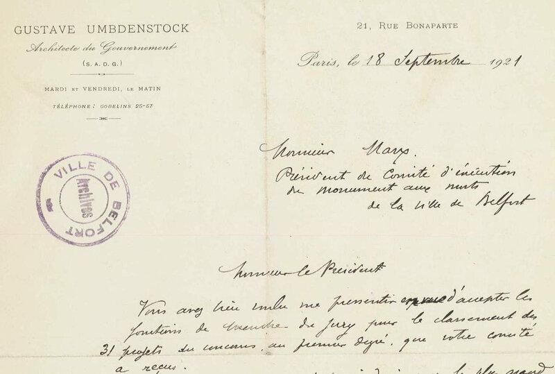 1921 09 18 Courrier Archi G Umbdenstock accepte être juré R