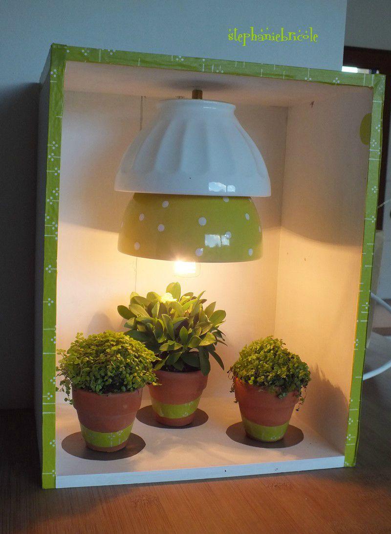 tuto faire une lampe recup, diy lampe recylée, lampe avec des bols