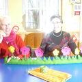 BAS DE PORTE EN FEUTRINE avec montage de fleurs