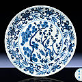 A fine and extremely rare ming blue and white 'three friends' dish, jiajing six-character mark and of the period (1522-1566)