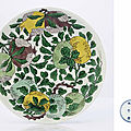 A fine famille verte biscuit-enamelled dish, kangxi six-character mark within double-circles and of the period (1662-1722)