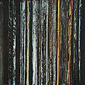 Forêt #38, 2011, acrylique, coulures et collages sur toile, 60 x 60 cm