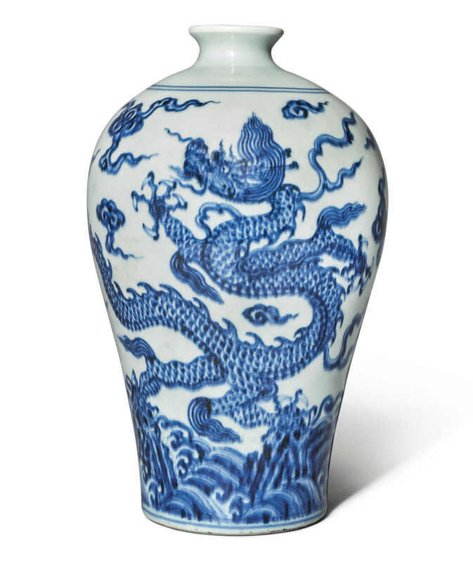 A blue and white Ming-style 'Dragon' meiping, Qing dynasty, Yongzheng period (1723-1735)