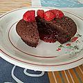 Fondant au chocolat au coeur de coulis de fraises