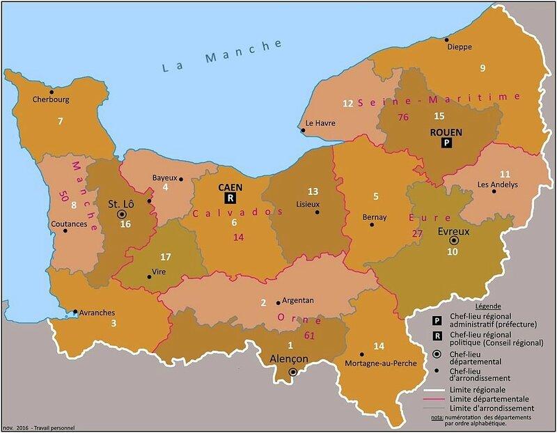 carte administrative région Normandie 2016