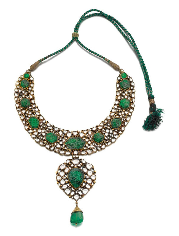 A diamond and emerald-set enamelled necklace, North India, late 19th century