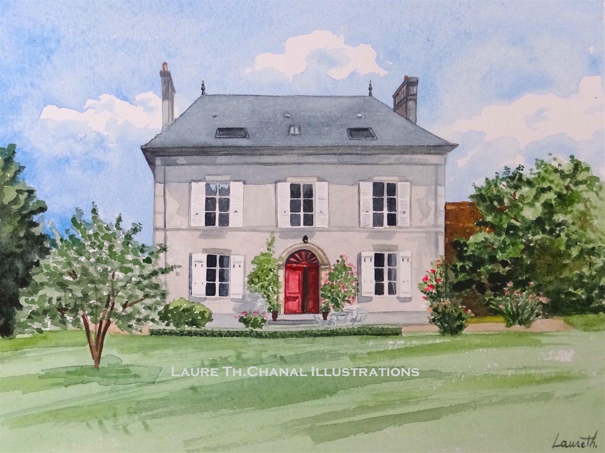 aquarelle maison Ogier