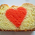 Cake inversé avec un coeur rouge (mon coeur, mon amouuuuuuuuuuur)