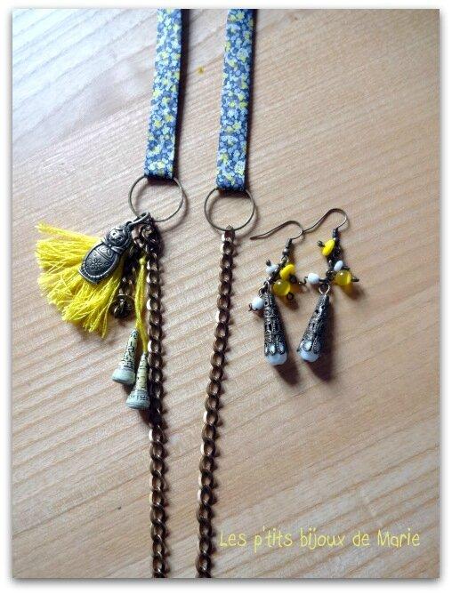 Parure collier jaune et gris