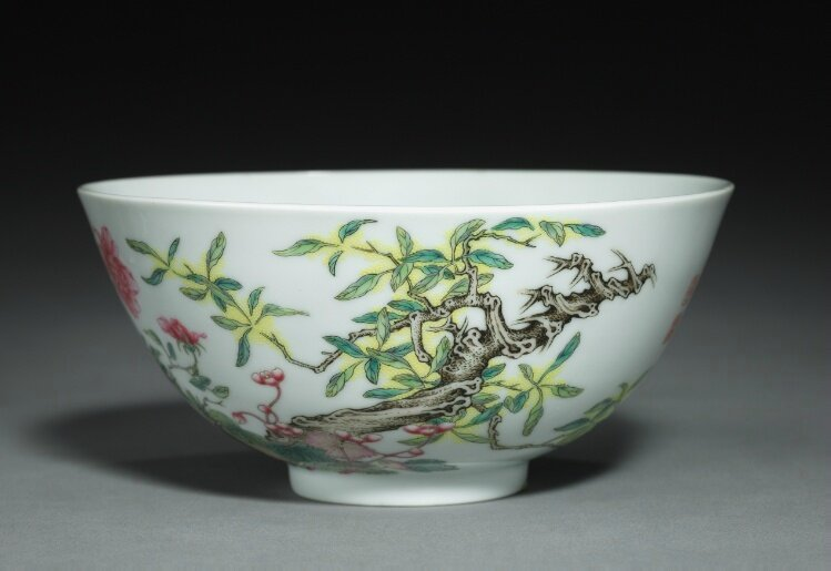 Bowl with Poppies, Tree Peony, and Flowering Mimosa, China, Jiangxi province, Jingdezhen , Qing dynasty, Yongzheng mark and period