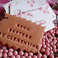 Menu de baptême, création personnalisé avec un... biscuit !