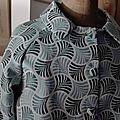 Veste VICTORINE en toile polyester turquoise - Doublure de satin gris perle (11)