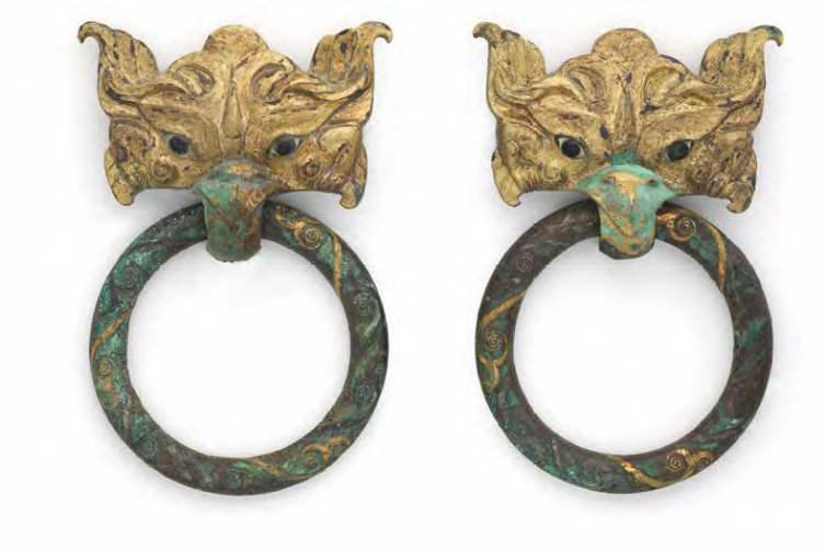 A rare pair of gilt-bronze inlaid 'taotie mask' ring handles, Eastern Zhou Dynasty (770-256 BC)