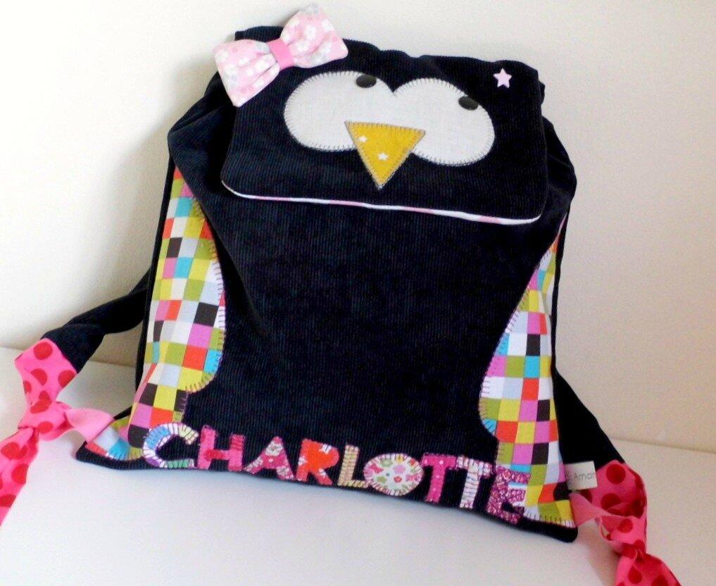 Sac à dos personnalisé chouette de Charlotte