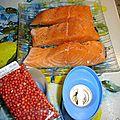 Pave de saumon aux baies rose cuit au micro-ondes