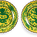 A pair of yellow-ground green-enamelled 'dragon' dishes, seal marks and period of qianlong (1736-1795)