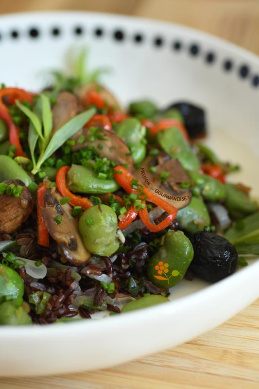Salade riz rouge, fèves, champignons de Paris, poivron, oignon_5