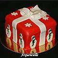 Gâteau boîte cadeau de noël dos