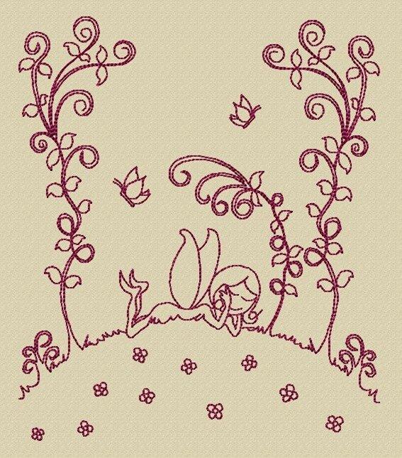 Motif à broder : la fée des fleurs