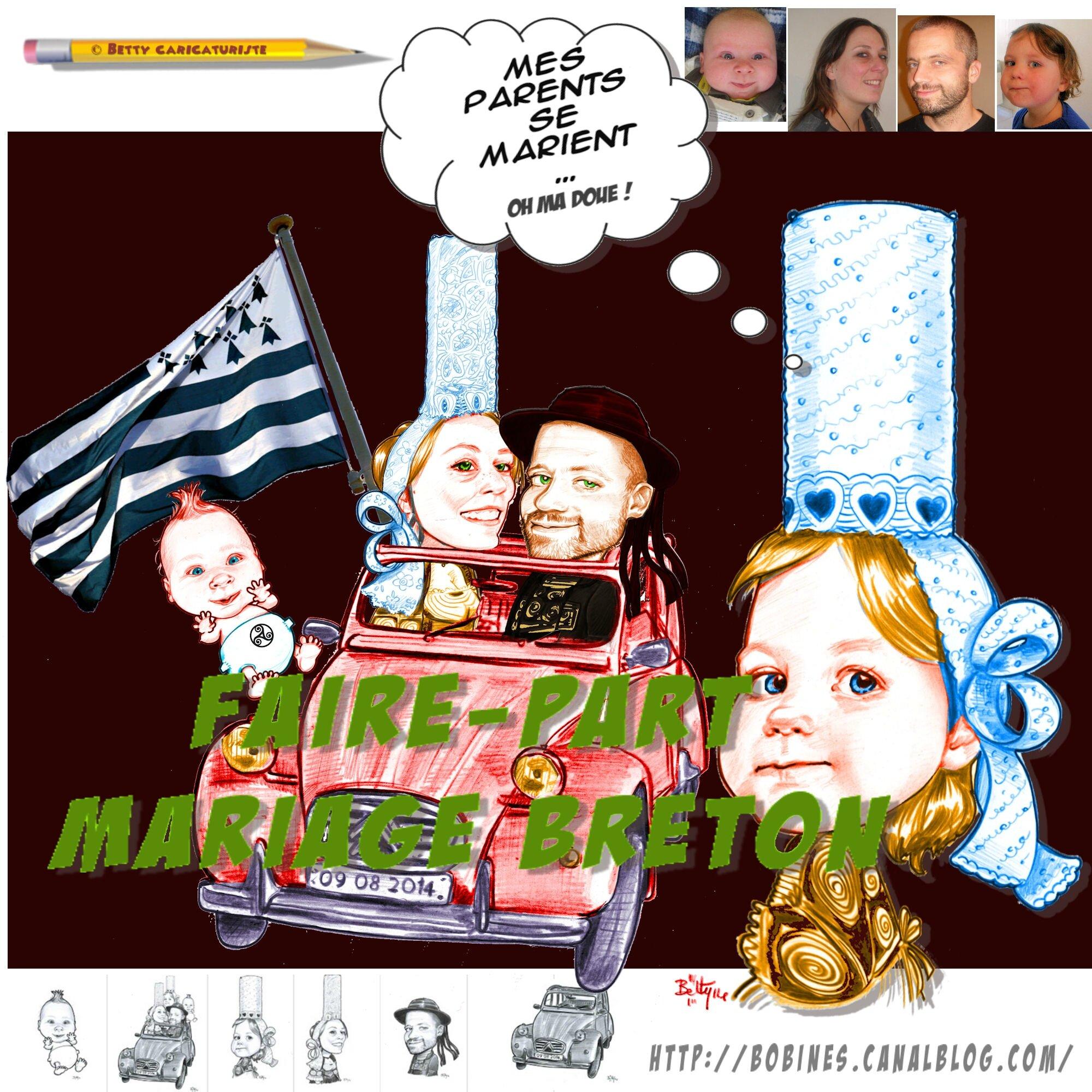 faire part mariage breton 2ch bigouden humour caricatures caricaturiste betty caricatures. Black Bedroom Furniture Sets. Home Design Ideas