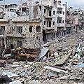 Dans les rues de la ville d'homs en syrie
