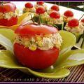 Duo de concombres et tomates farcis à la crème de thon aux petits suisses