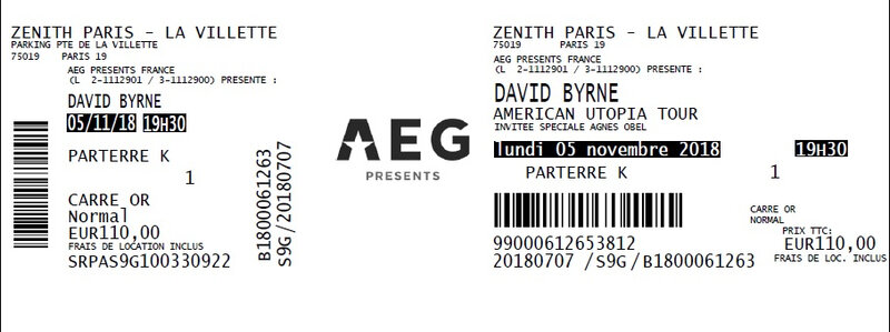 2018 11 05 David Byrne Zénith Billet