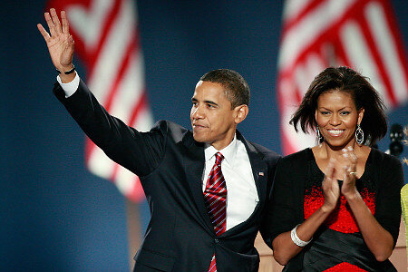Barack Obama and Michelle, election night 2008