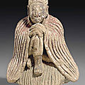 A rare clay figure of sakyamuni buddha, possibly tang dynasty