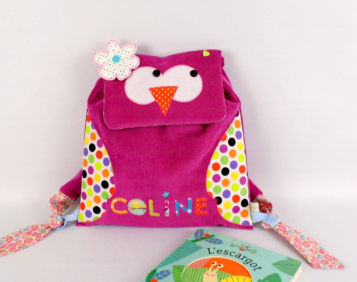 Sac à dos hibou personnalisé prénom Coline sac fille école maternelle owl backpack personalized name kindergarten