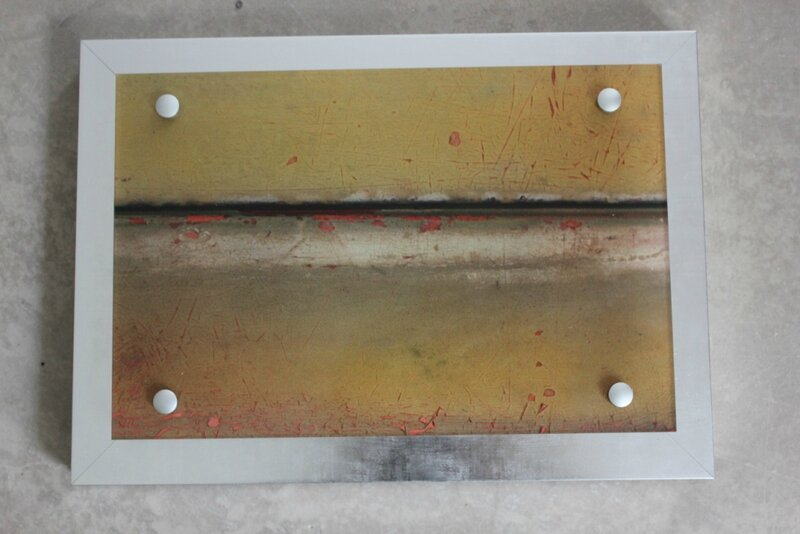 Metal stream on plexiglas with metal frame 25X35 cm