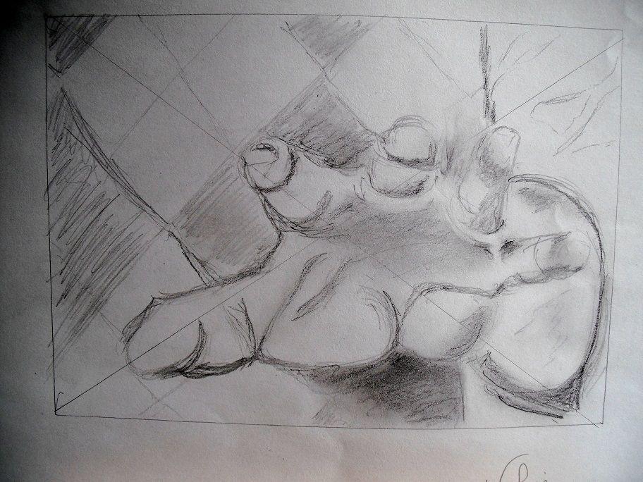 la main en perspective