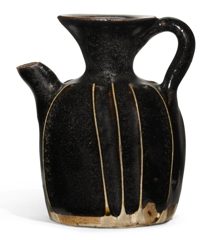 A miniature black-glazed ribbed ewer, Song dynasty (960-1279)