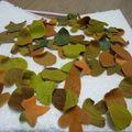 feuilles d'Automne en pâte à sucre