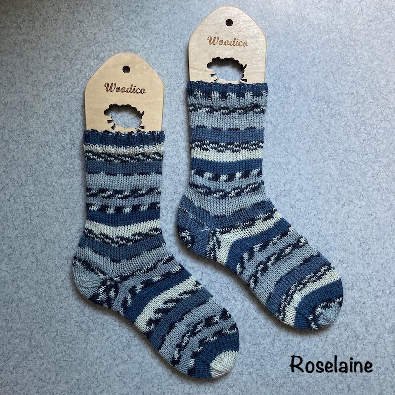 Roselaine Chaussettes Rayures Bleues Tricot Socks 1