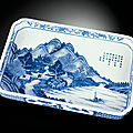 A rare large inscribed blue and white rectangular tray, jiaqing six-character seal mark and of the period (1796-1820)