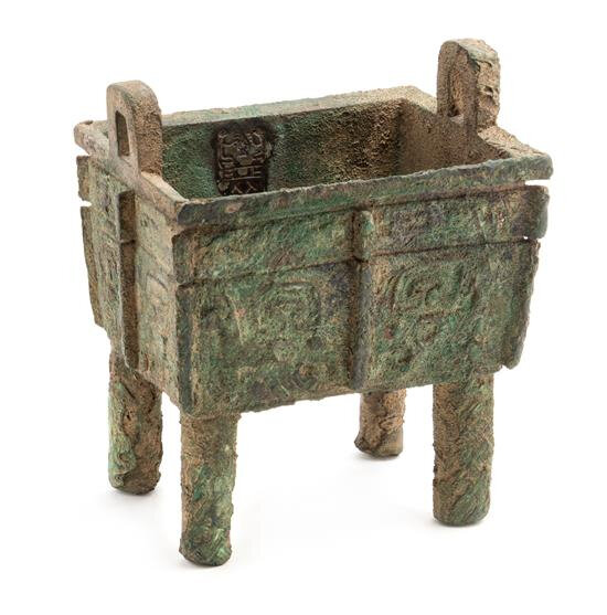 A Rare Bronze Ritual Food Vessel, Fangding, late Shang dynasty (12th-11th century B.C.)