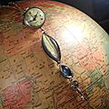 Sautoir montre boule à quartz surmontant une clef, une pierre de lune et une labradorite...