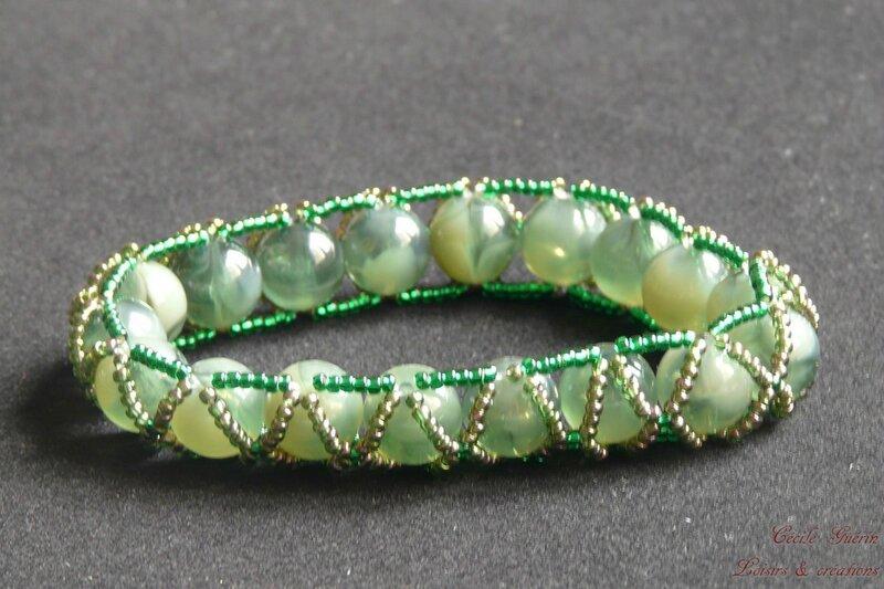 Bracelet perles rondes vertes - blog