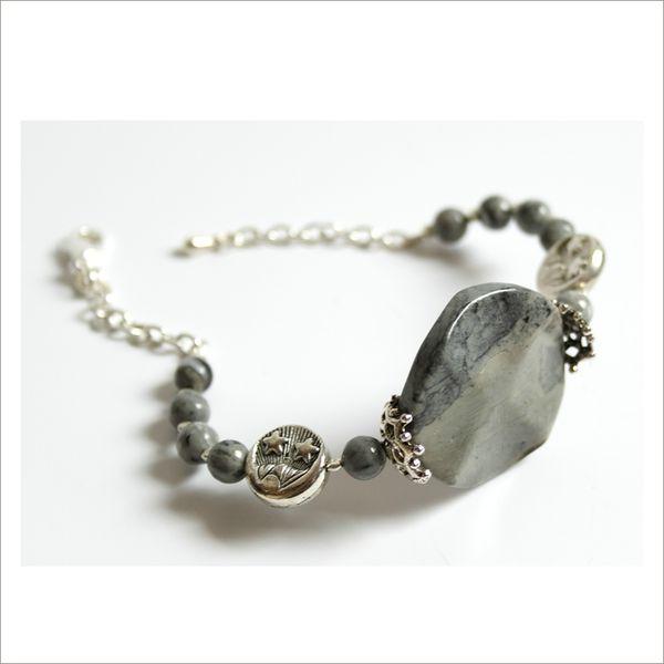 Bracelet semi rigide pierre naturelle grise