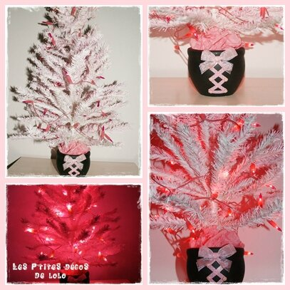 Sapin girly guirlande rose