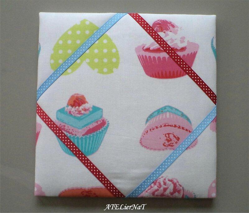 Cadre barrettes cupcake rubans à pois bleu et rouge