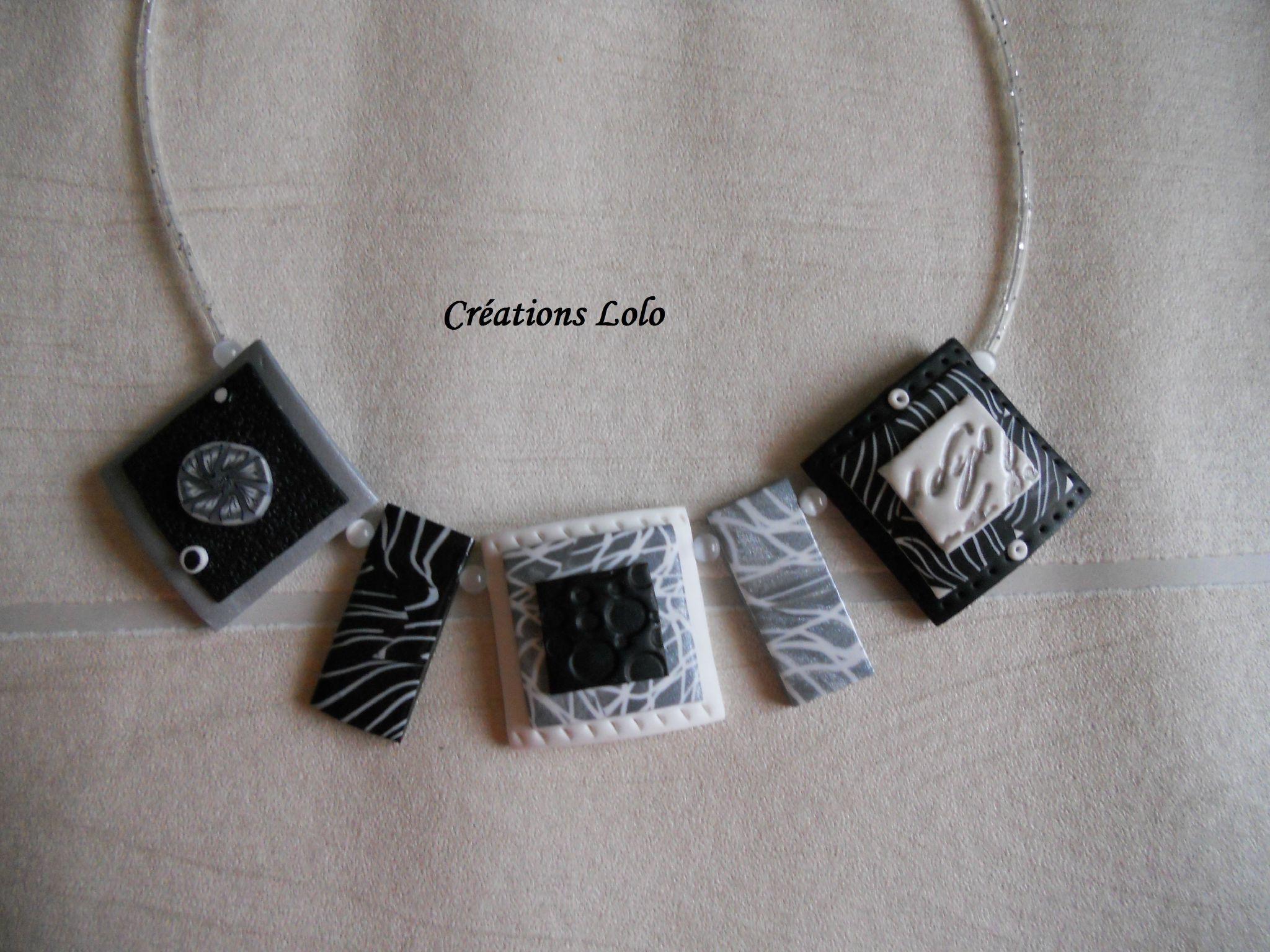143 - Collier noir, gris, blanc
