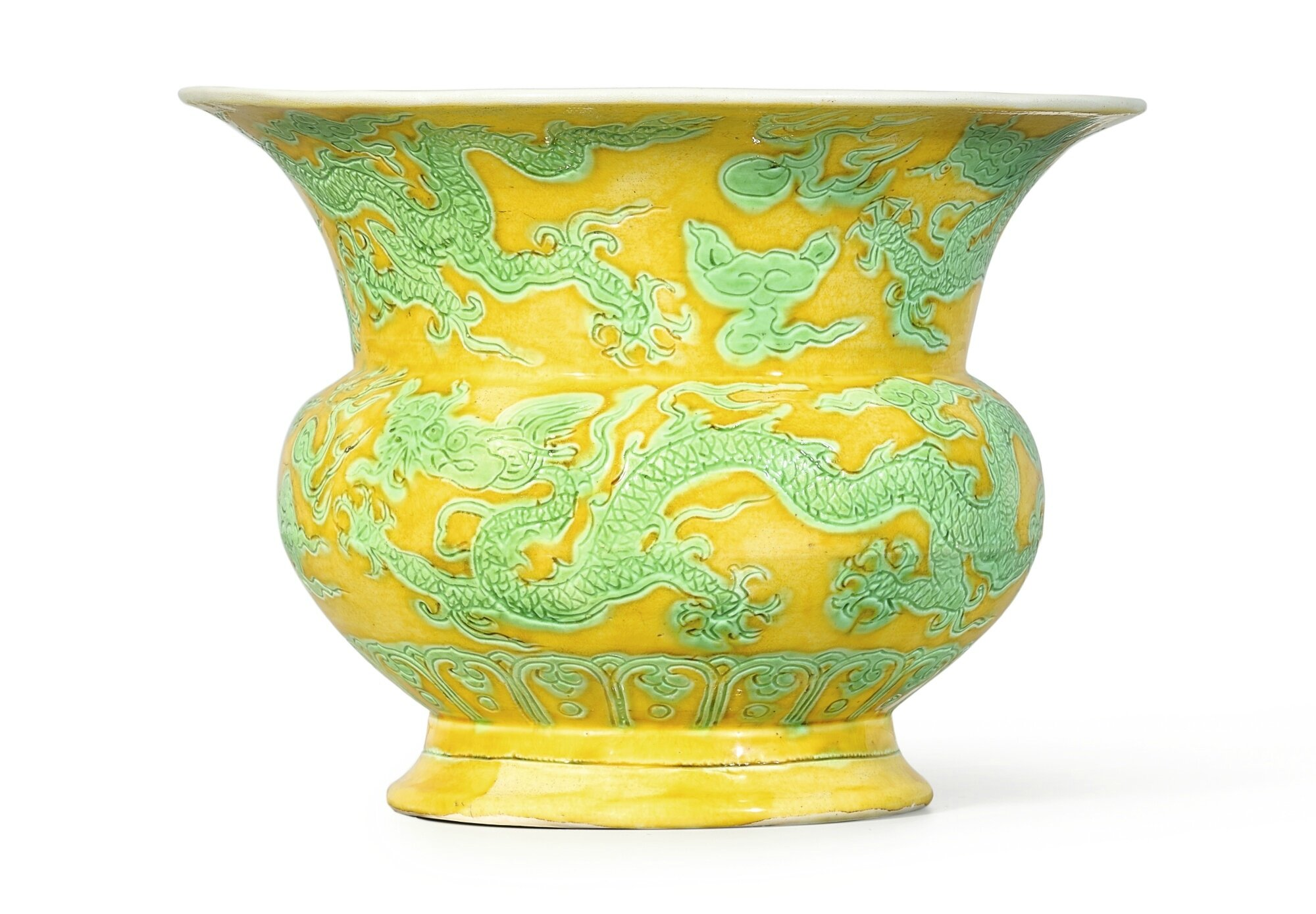 A rare yellow and green 'Dragon' zhadou, Mark and period of Zhengde (1506-1521)